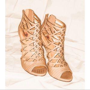 Wedge strap heels